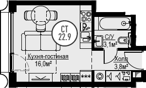 Студия, 22.9 м², от 18 этажа