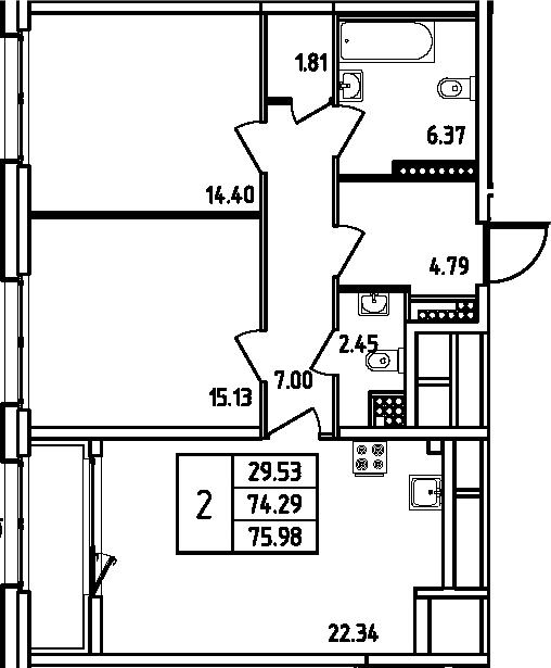 3Е-комнатная, 75.98 м²– 2