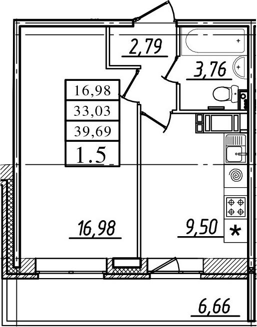 1-к.кв, 33.03 м²