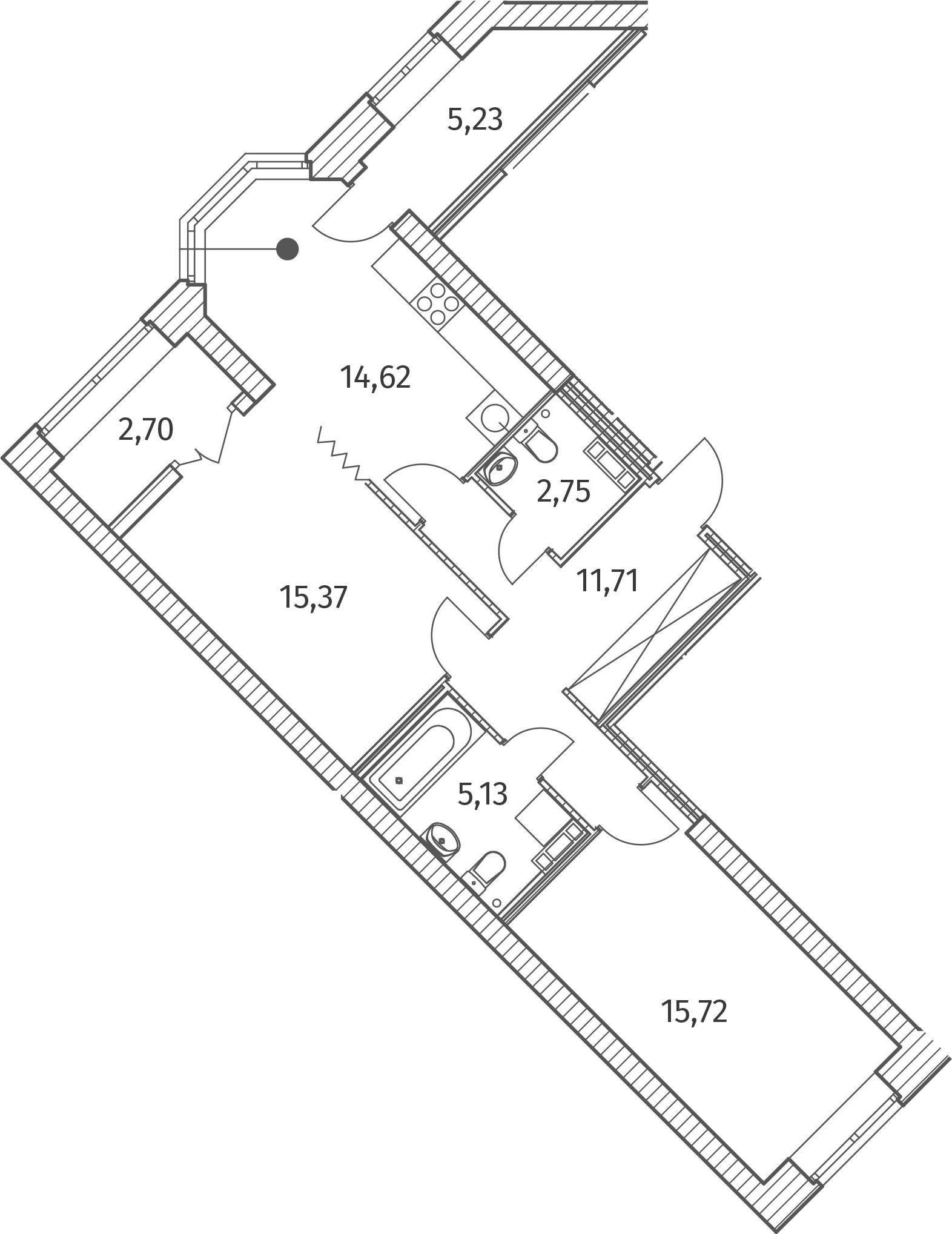 2-к.кв, 71.88 м²