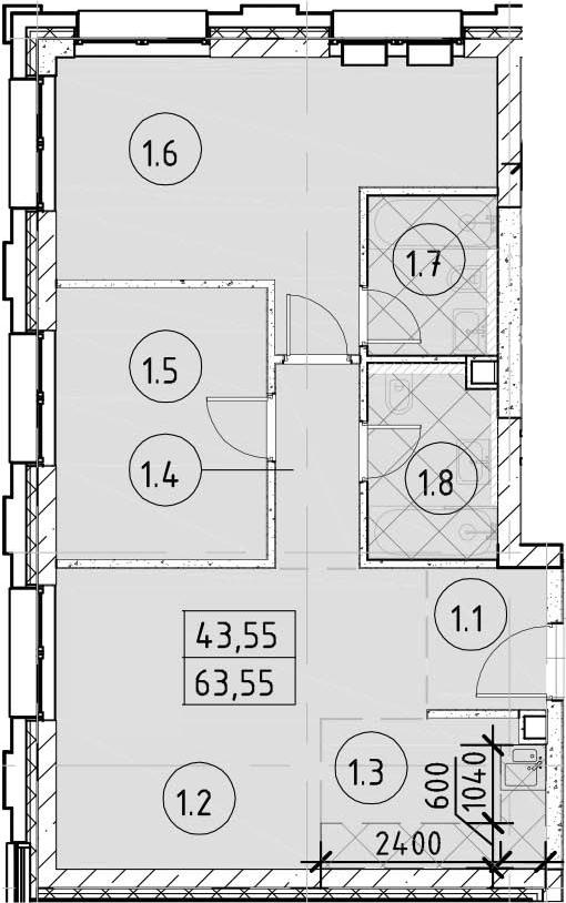 3Е-к.кв, 63.55 м²