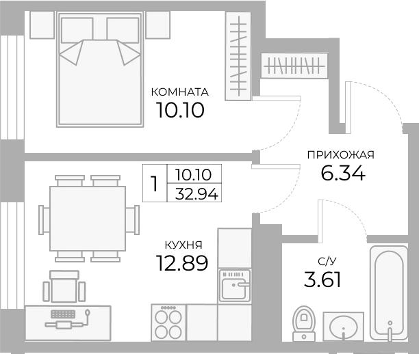 1-комнатная, 32.94 м²– 2
