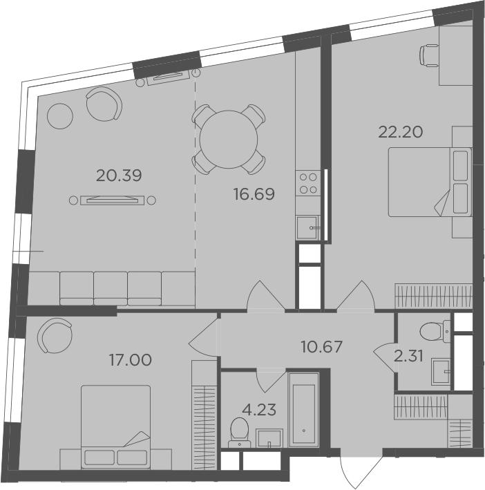 3-к.кв, 93.49 м²
