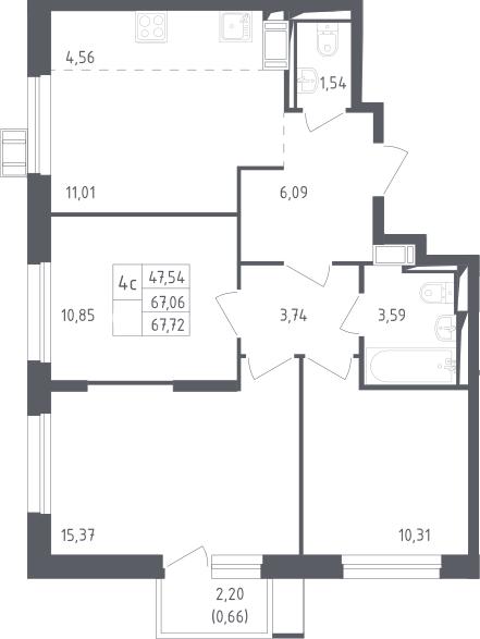 4Е-к.кв, 67.72 м², 9 этаж