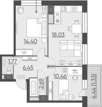 3Е-к.кв, 55.13 м², 10 этаж