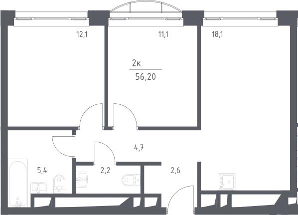 3Е-к.кв, 56.2 м², 23 этаж