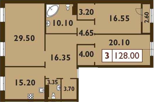 4-к.кв (евро), 129.3 м²