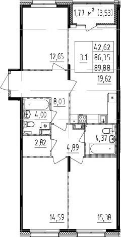 4Е-к.кв, 86.35 м², 2 этаж