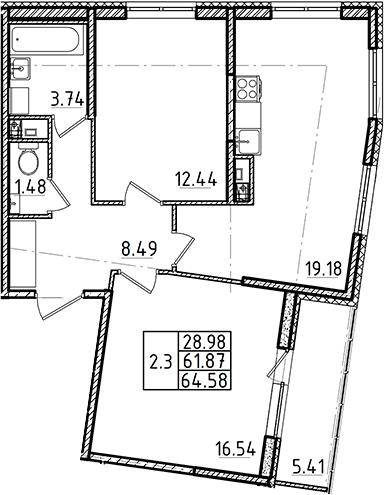 3Е-к.кв, 61.87 м²