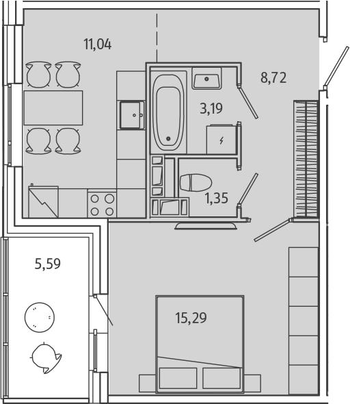 1-комнатная квартира, 42.39 м², 2 этаж – Планировка