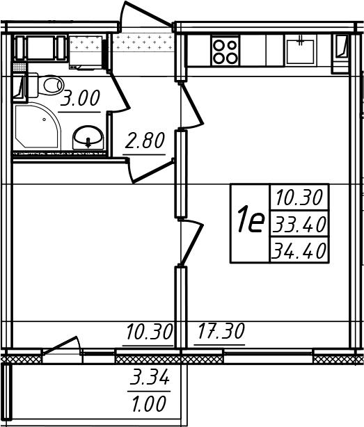 2Е-комнатная, 34.4 м²– 2