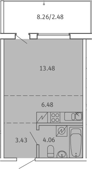 Студия, 29.93 м²– 2