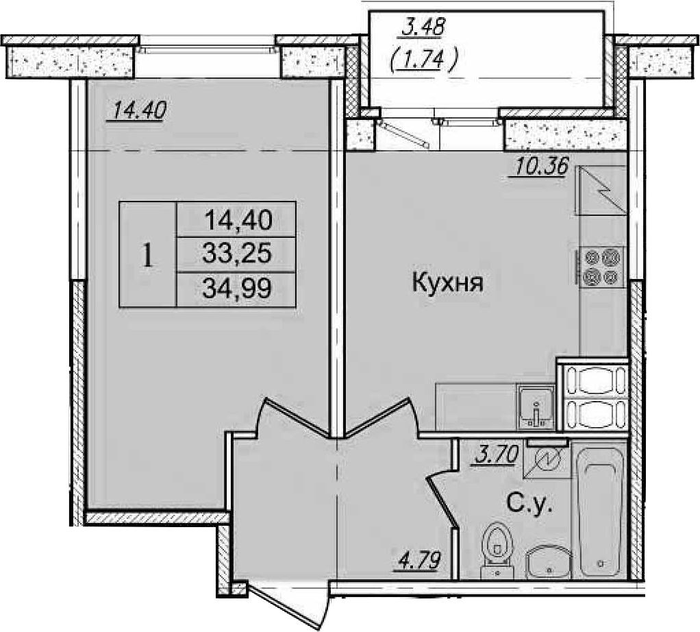 1-к.кв, 36.73 м²