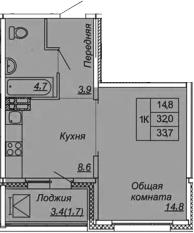 1-к.кв, 33.7 м², 4 этаж