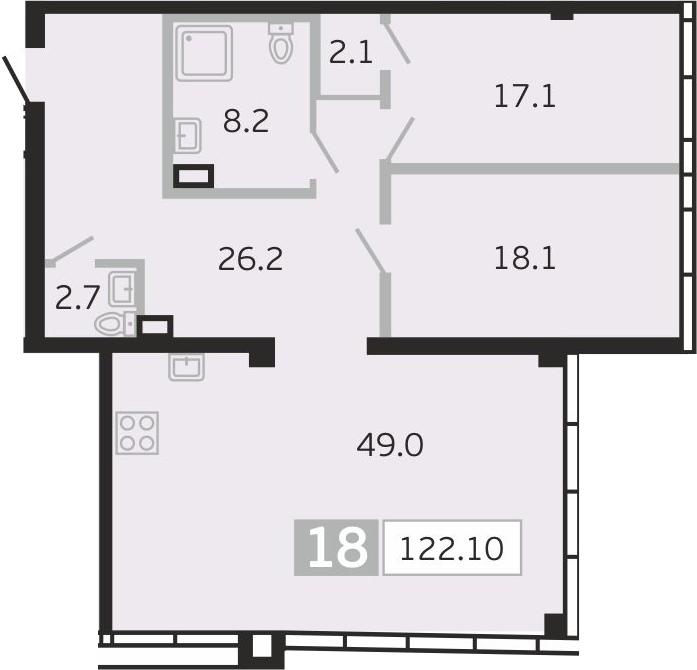 3Е-к.кв, 122.1 м²