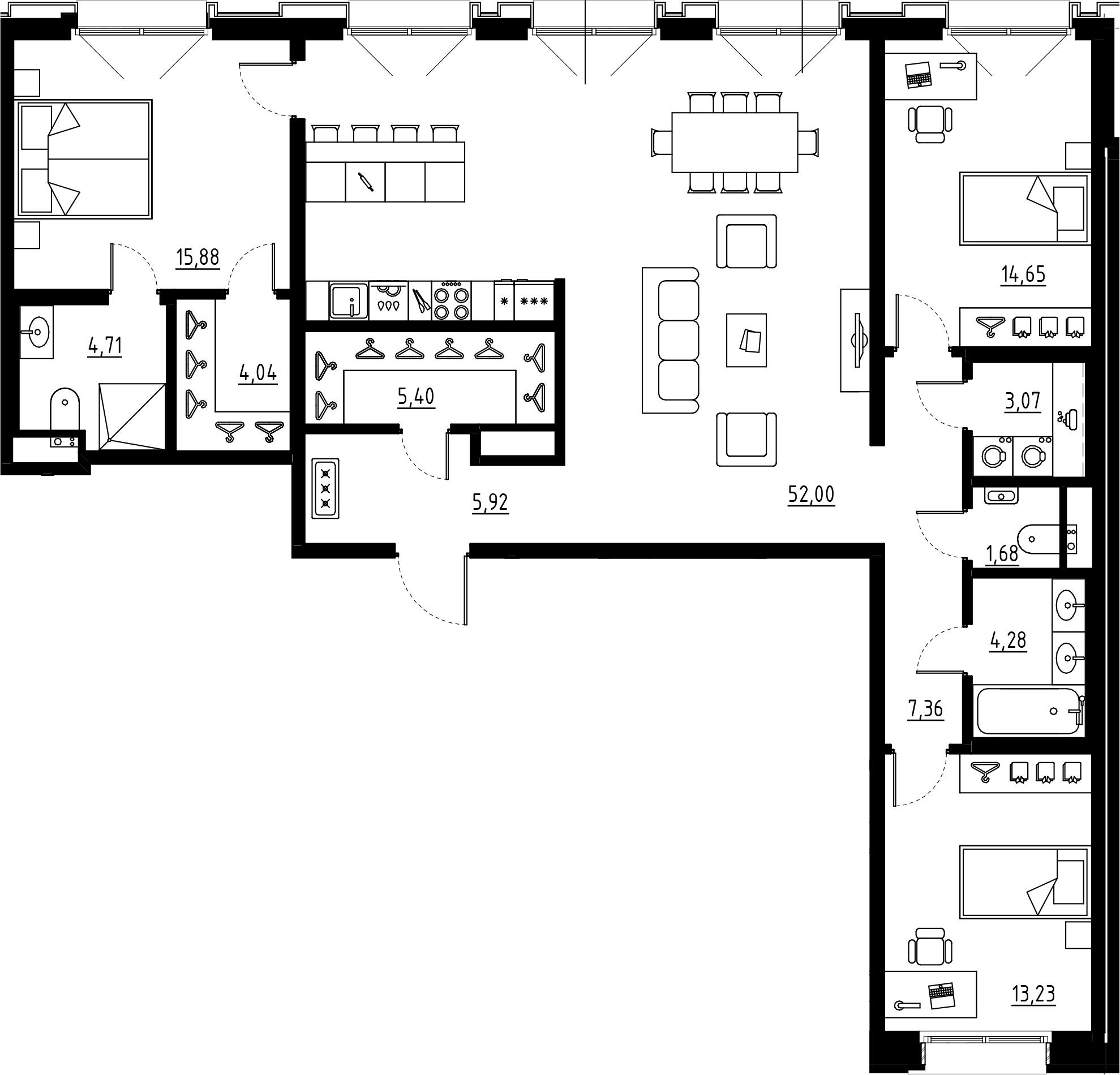 4Е-комнатная, 132.22 м²– 2