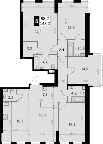 5-комнатная, 143.2 м²– 2