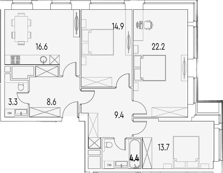 3-к.кв, 93.1 м²