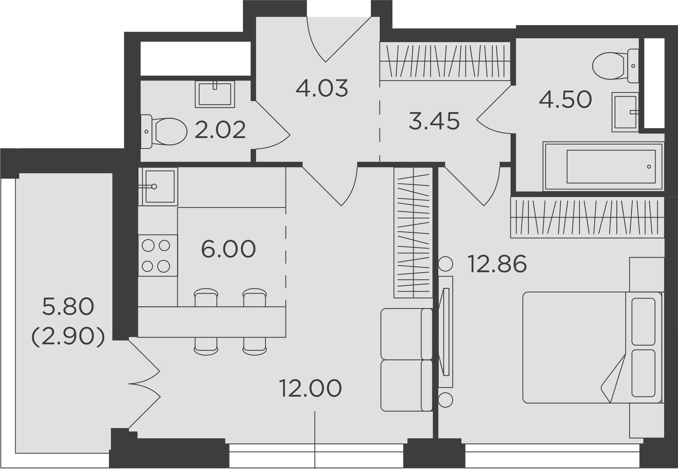 2Е-комнатная, 47.76 м²– 2
