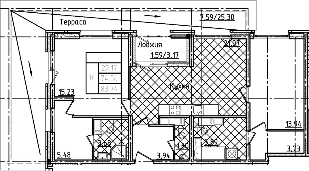 3Е-к.кв, 83.74 м²