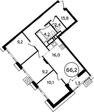 4-к.кв (евро), 67.5 м²