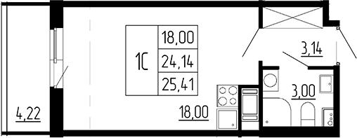Студия, 24.14 м²– 2