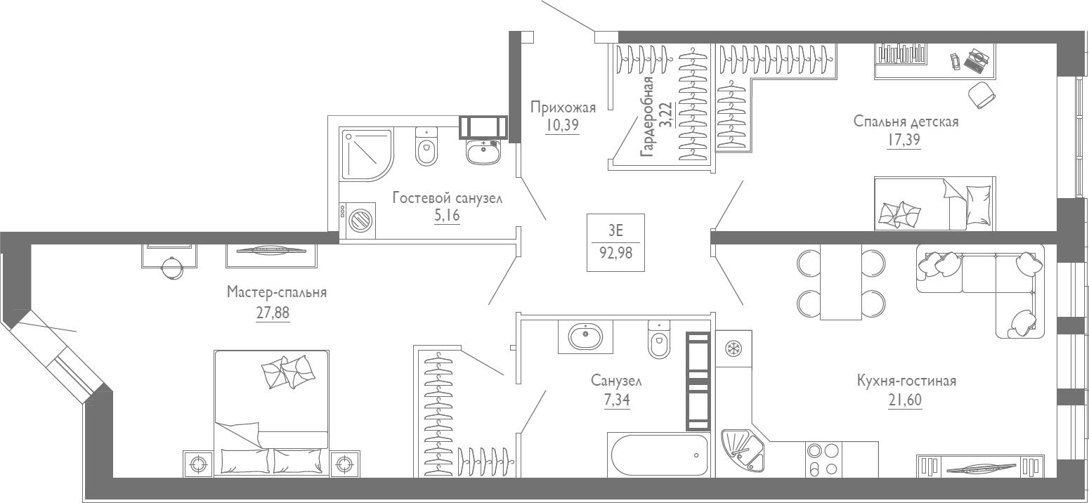 3Е-комнатная, 92.98 м²– 2