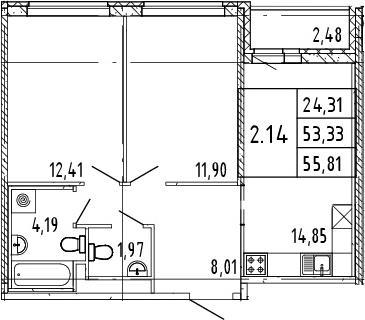 2-к.кв, 54.57 м²