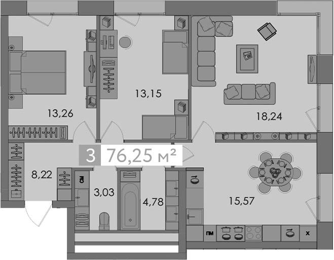 4-к.кв (евро), 76.25 м²