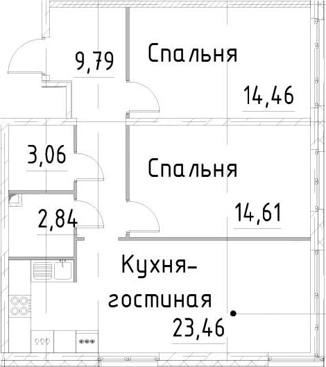 3-к.кв (евро), 68.22 м²
