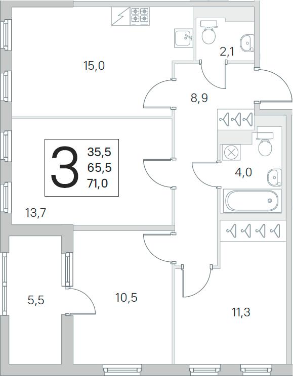 4Е-к.кв, 65.5 м²