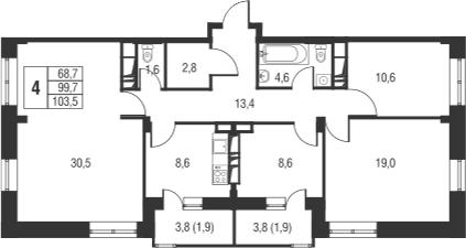 4-к.кв, 107.3 м²