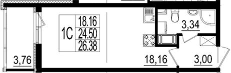 Студия, 26.38 м²