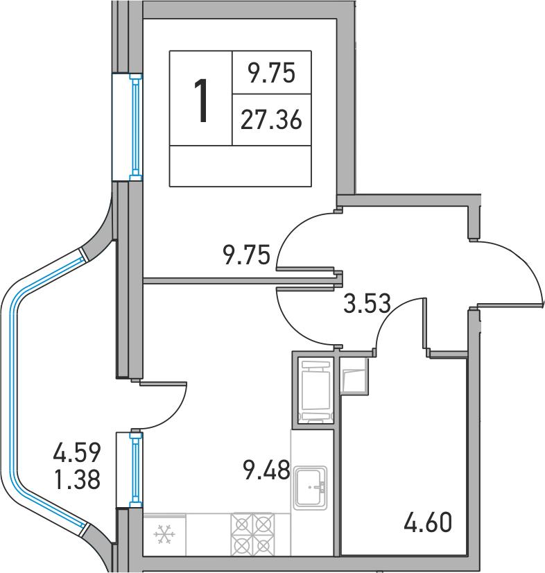 1-к.кв, 31.95 м²