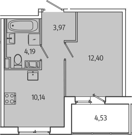 1-к.кв, 32.97 м², 2 этаж