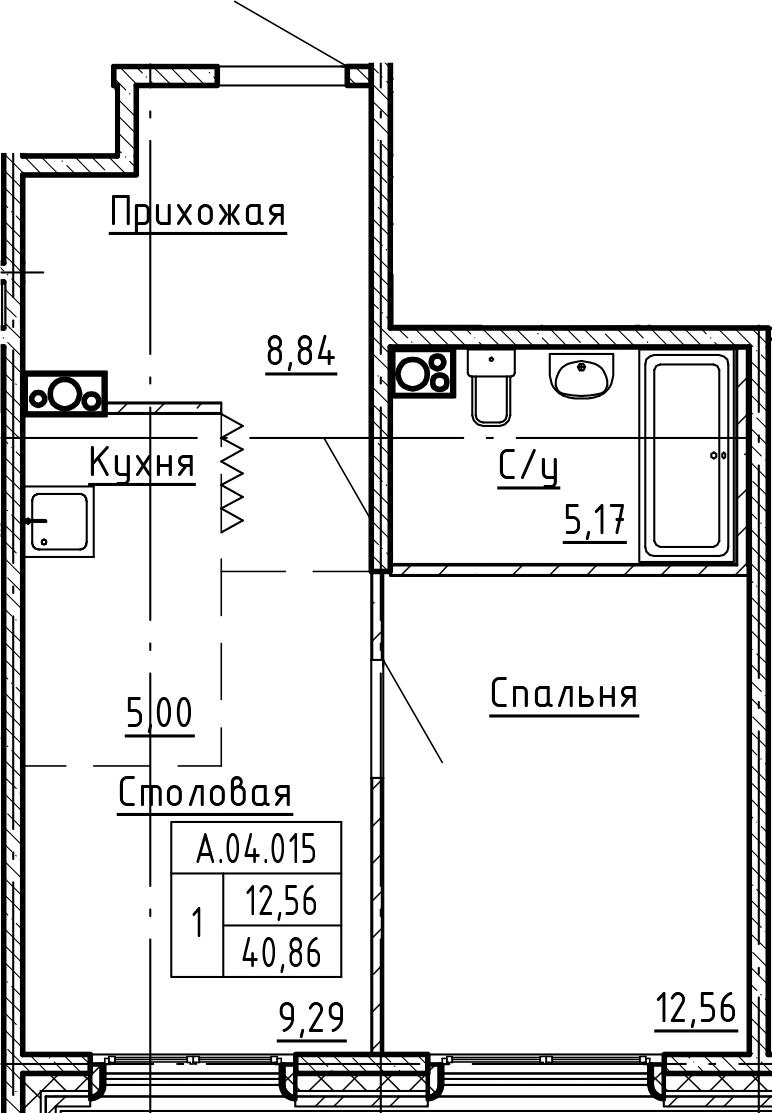 1-комнатная, 40.86 м²– 2