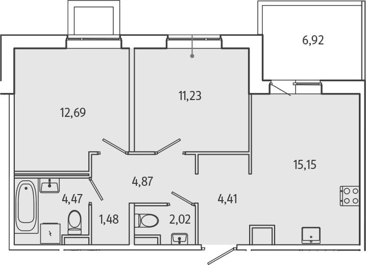 3Е-к.кв, 58.4 м²