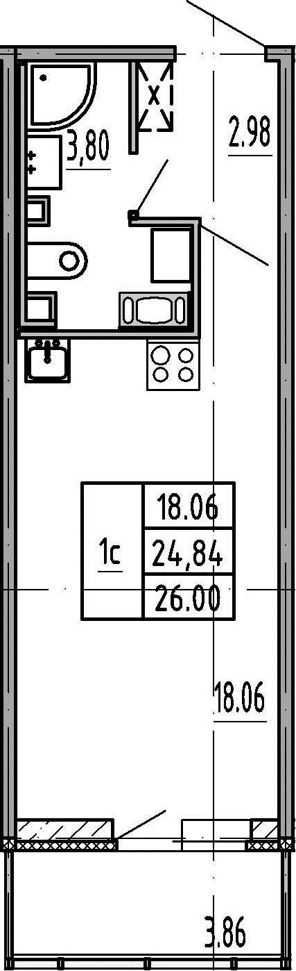 Студия, 28.7 м²