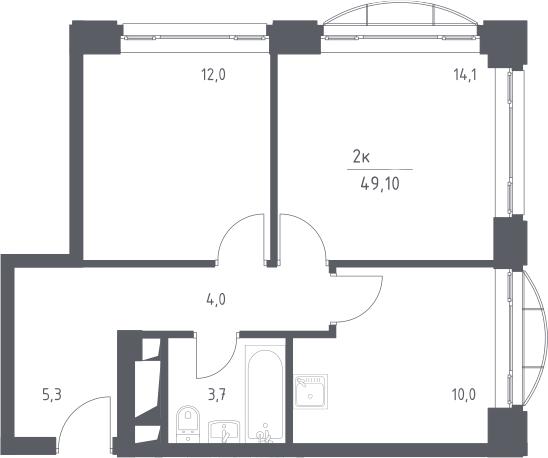 2-к.кв, 49.1 м², 5 этаж