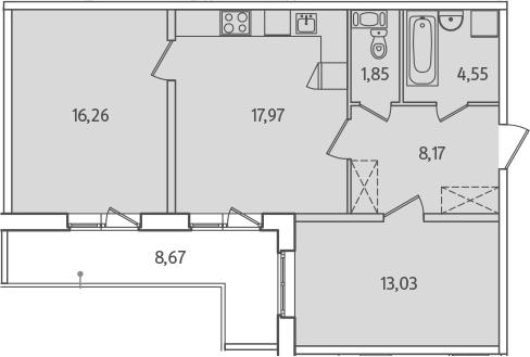 3Е-к.кв, 66.16 м², от 2 этажа