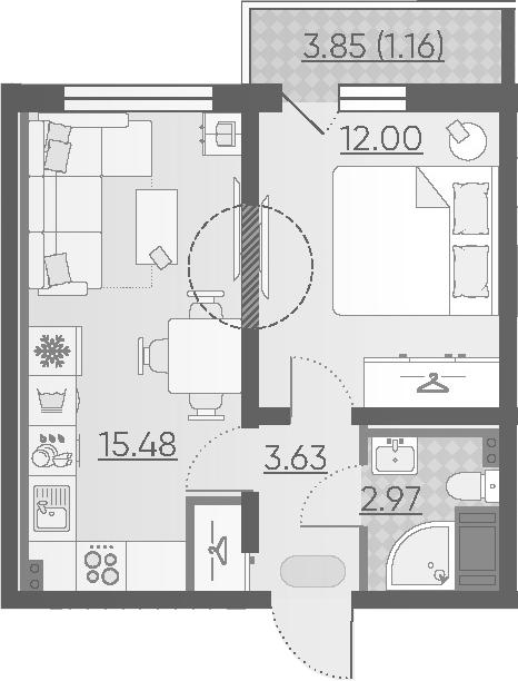 2Е-комнатная, 35.24 м²– 2