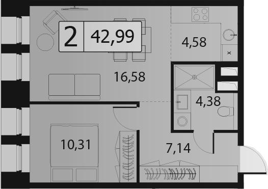 2-к.кв (евро), 42.99 м²