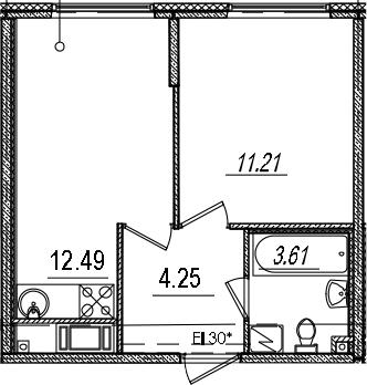 1-к.кв, 31.56 м², 8 этаж