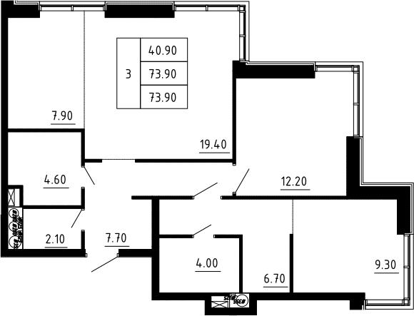 3Е-к.кв, 73.9 м², 12 этаж