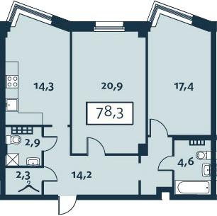 2-комнатная, 78.3 м²– 2