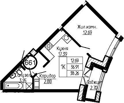 2-к.кв (евро), 39.61 м²