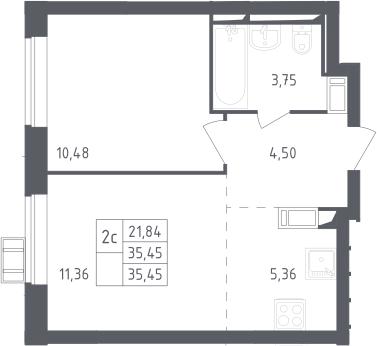 2Е-комнатная, 35.45 м²– 2