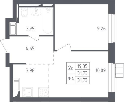 2Е-к.кв, 31.73 м², 17 этаж