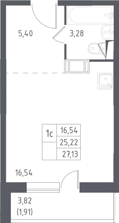 Студия, 27.13 м²– 2