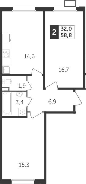 2-комнатная, 58.8 м²– 2